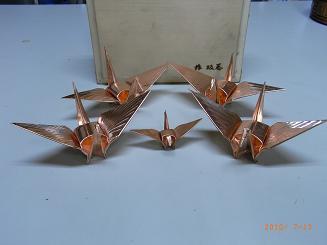 銅板にて手作り折鶴